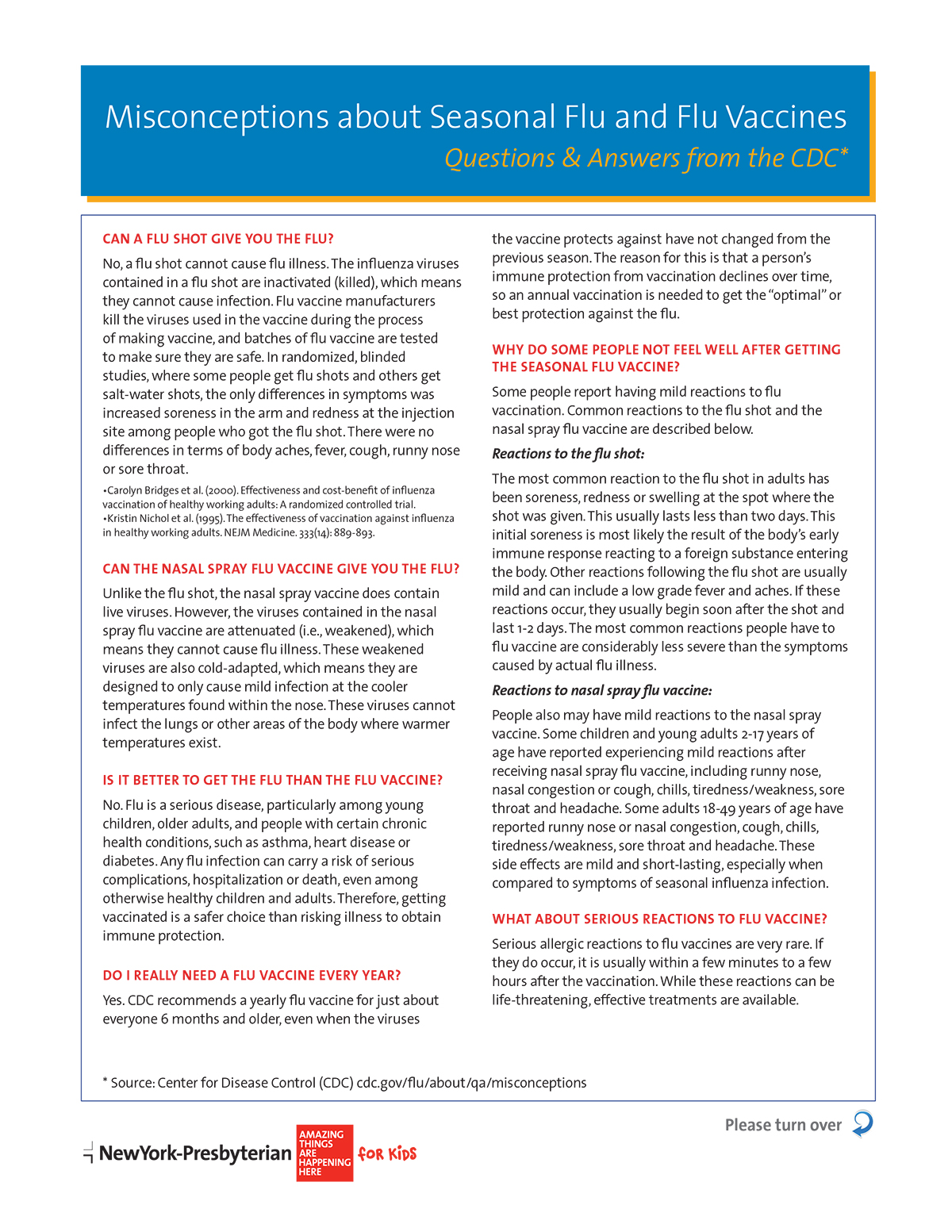 Misconceptions about Seasonal Flu and Flu Vaccines |Tip Sheets ...