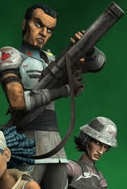 Saw Gerrera as depicted in the Clone Wars.