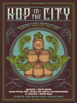 Hop in the City poster design by Status Serigraph