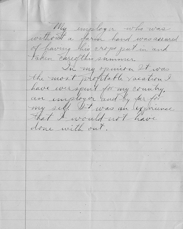 Donald Jamieson's Farm Cadet Essay, World War I, ca. 1918