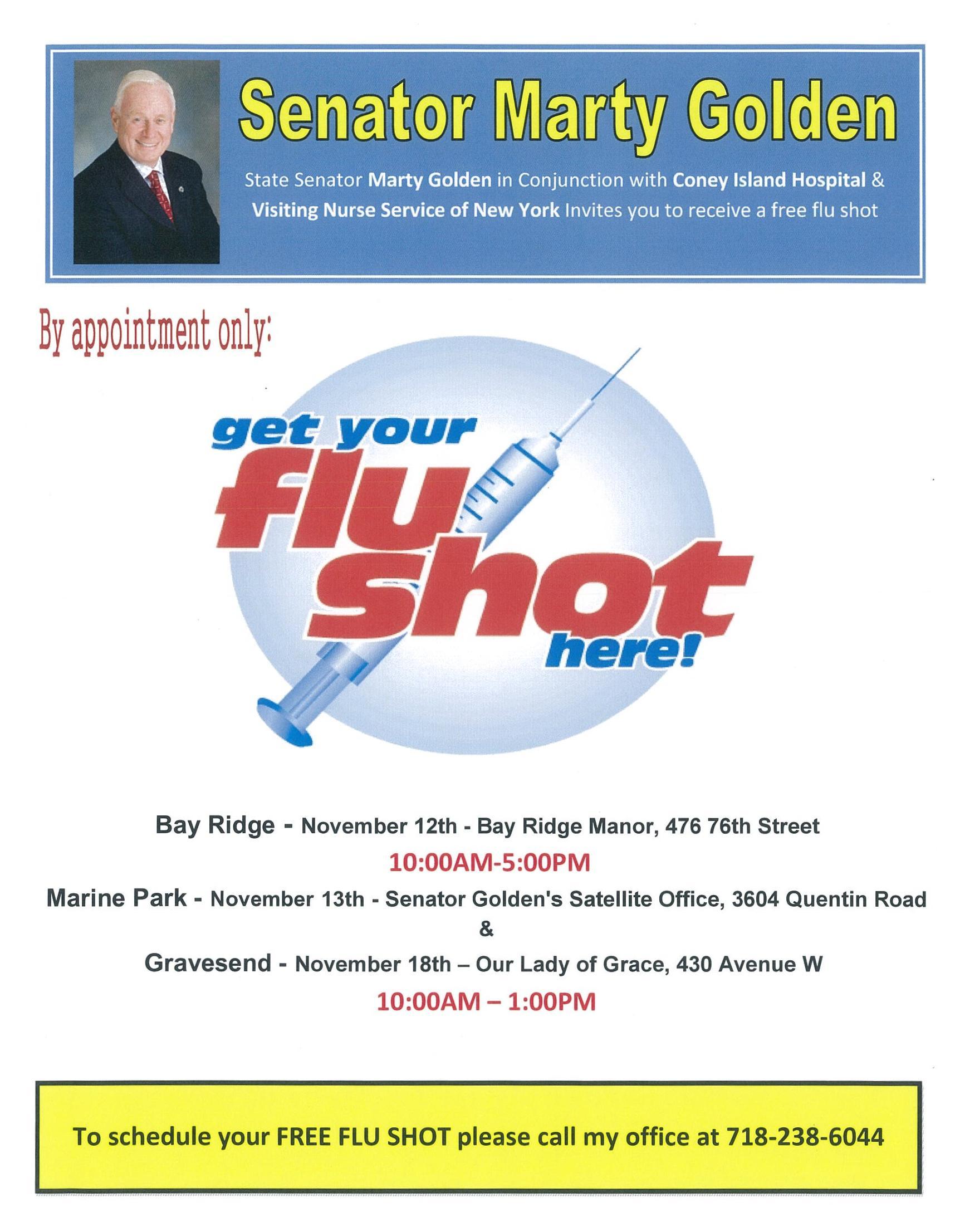 SENATOR GOLDEN SPONSORING FREE FLU SHOTS  BAY RIDGE  NY State Senate