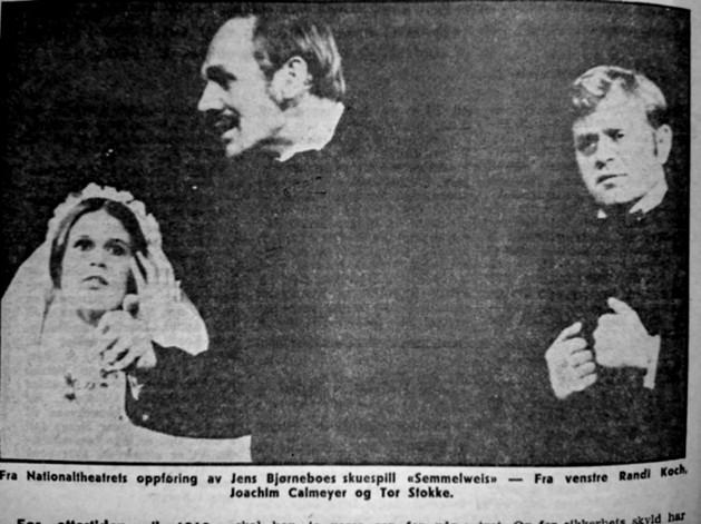 Fra Nationaltheatrets oppføring AV Jens Bjørneboes skuespill semmelweis – fra venstre Randi Koch, Joachim Calmeyer og Tor Stokke.