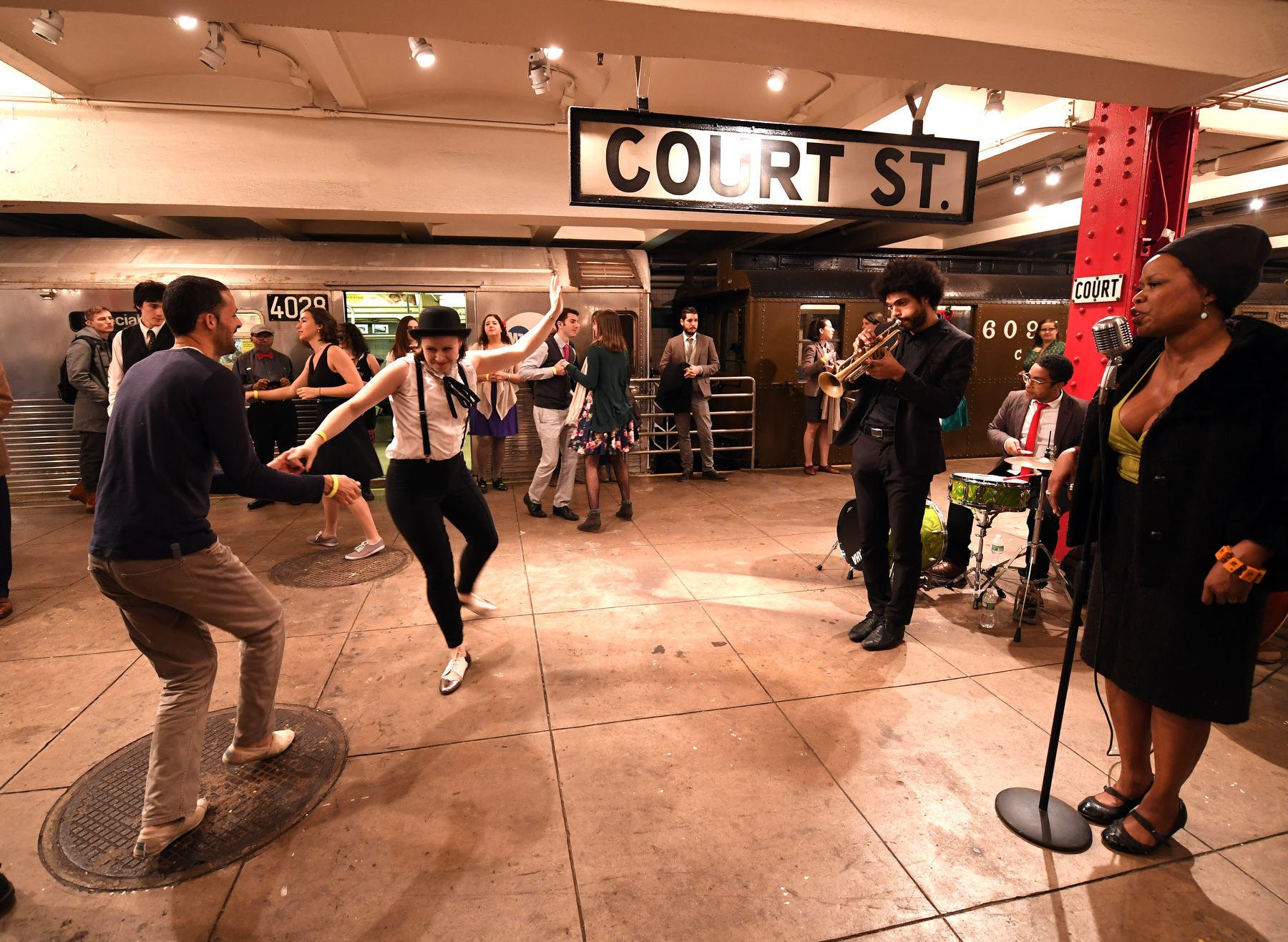 """""""Subway Swing"""" at the New York Transit Museum on Sat., December 9, 2017. Photo: Shaelyn Amaio for New York Transit Museum"""