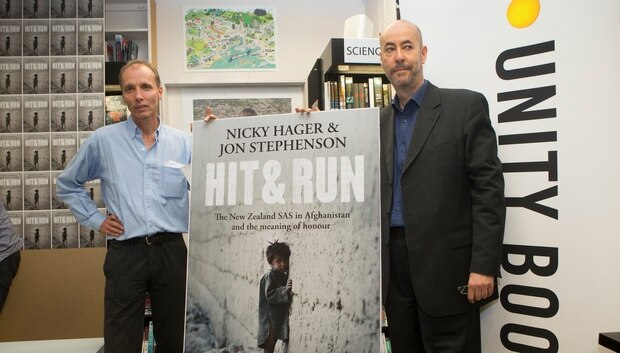 Authors Nicky Hager, left, and Jon Stephenson during the launch of their book, Hit & Run. Photo / Mark Mitchell