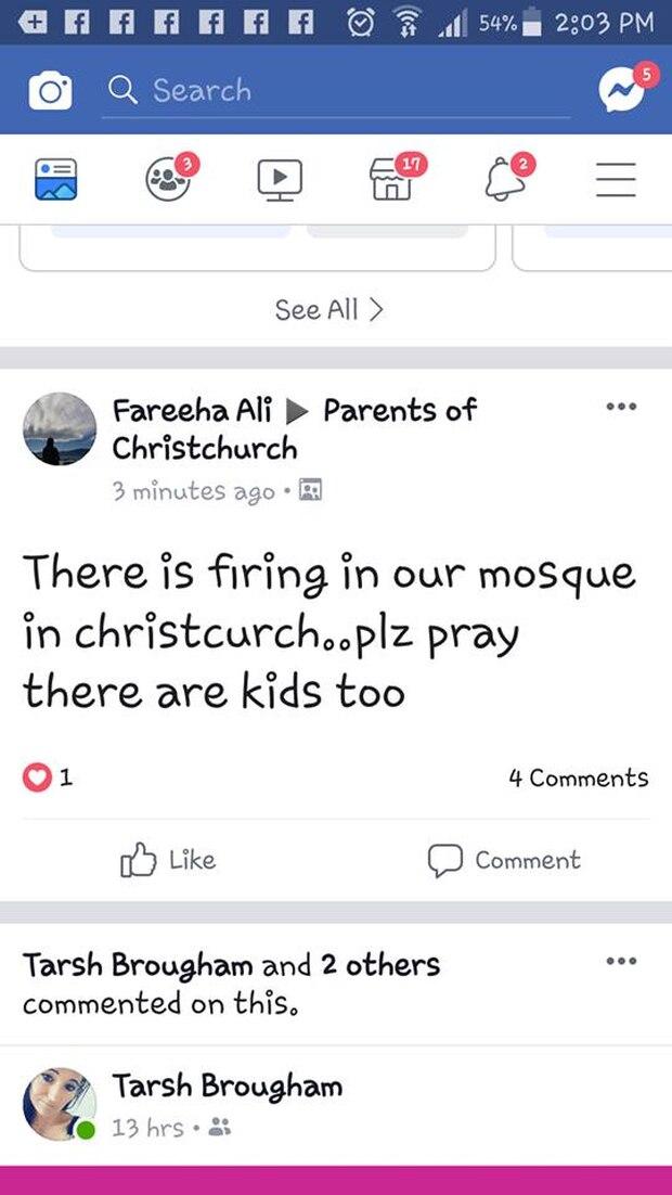 Una persona compartió esta publicación en la página de Facebook de los padres de Christchurch. Foto / facebook