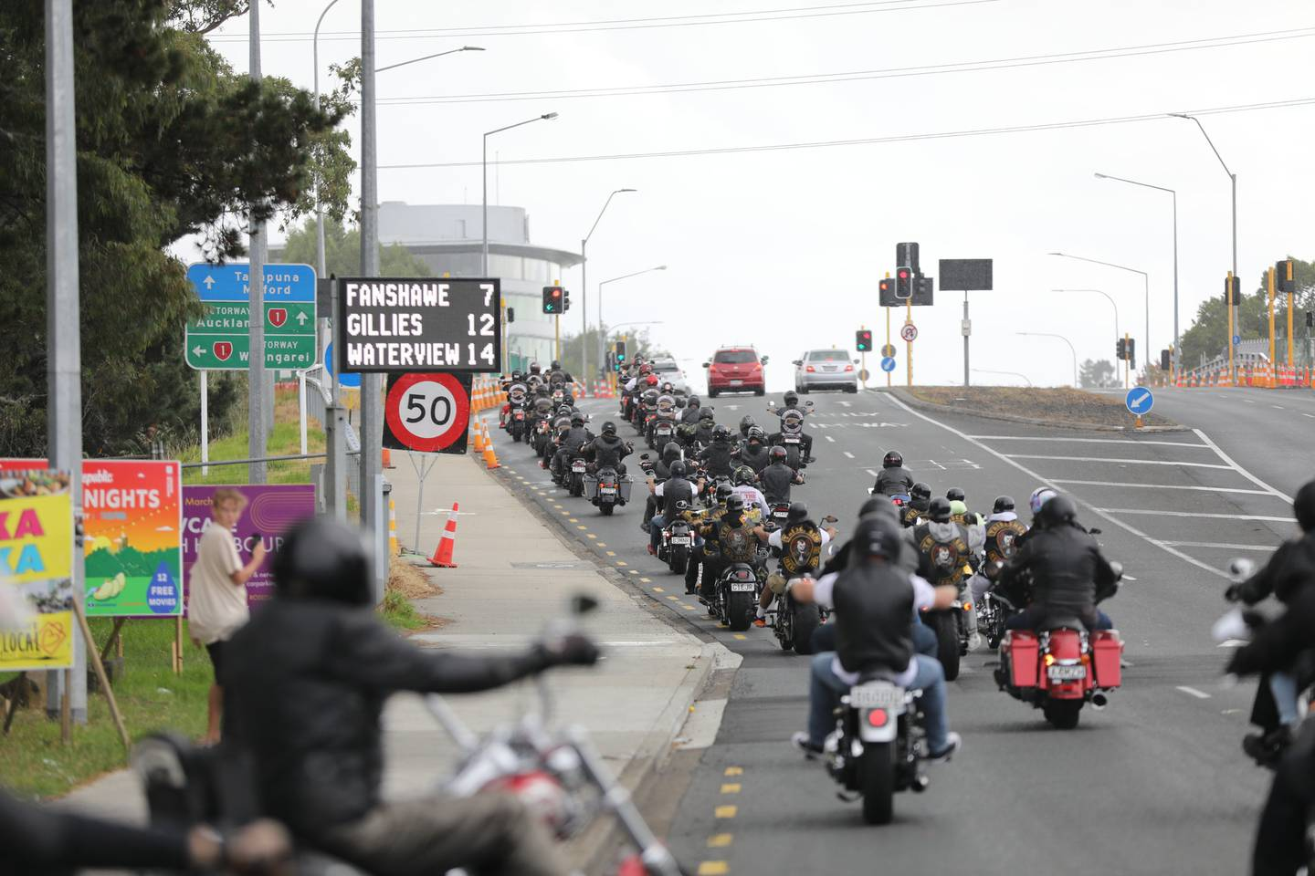 Police said they were aware of the planned motorcycle run involving members of the Hells Angels Nomads Gang around the North Shore and Rodney. Photo / Hayden Woodward