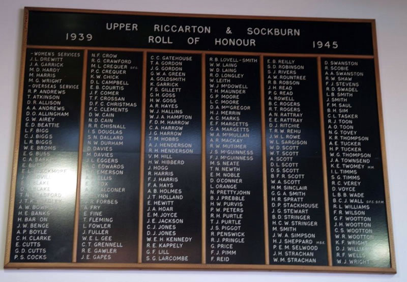Photo borrowed from http://www.nzhistory.net.nz which shows the names of Wootton family members of Upper Riccarton who served during WW2 including G Wootton.