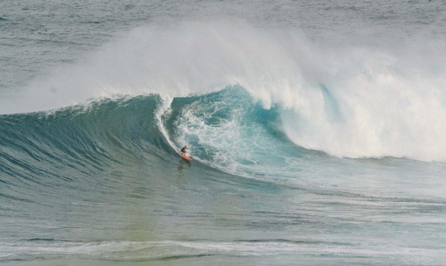 巨大な波に挑戦するサーファー。最高速度は推定65km/h