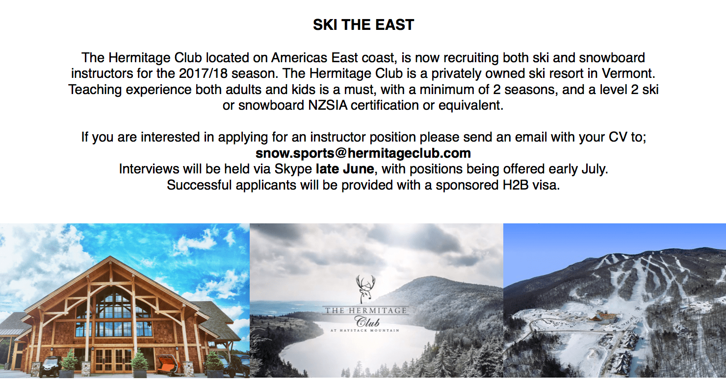 Hermitage club in vermont are recruiting nzisa new zealand hermitage club in vermont are recruiting xflitez Images