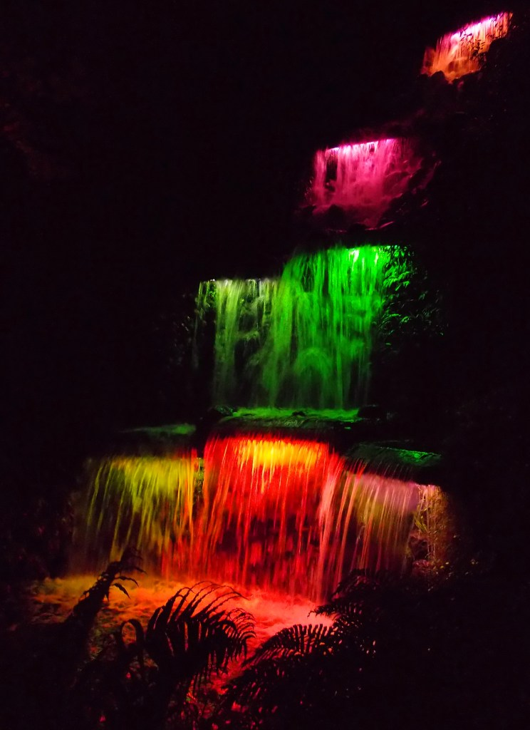 Pukekura Park, Waterfall, Festival of Lights, Taranaki, New Zealand