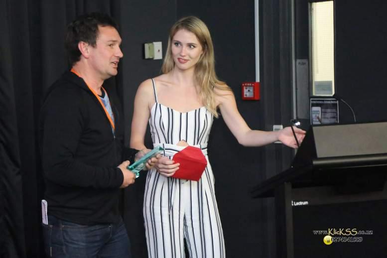 Simon Leslie and awards host Brittany Clark