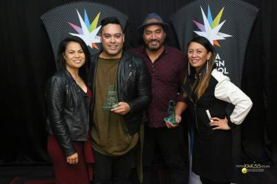 Team Coconet, winners of the Special Interest Award (The F Word) and Oustanding Vlogger (Fasitua Amosa)