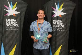 Two wins for Ngai Tahu - Simon Leslie with trophies for Best Web Show (Mahinga Kai) and Best Pilot (Nga Ringa Ti o Tahu)