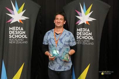 Two wins for Ngai Tahu - Simon Leslie with trophies for Best Web Show (Mahinga Kai) and Best Pilot (Nga Ringa Ti o Tahu)