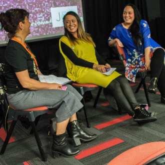 Digital Native panel: Megan Douglas, Lanita Ririnui-Ryan, Vicki MakutuPhoto: Isabella Francis