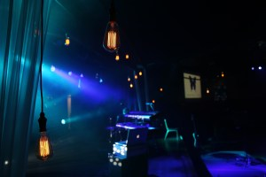 Lights and projector screen on stage