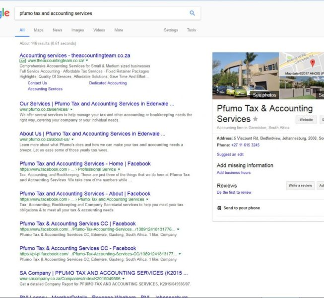 Pfumo Tax and Accounting Services brand search SERP page