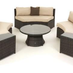 Rattan Half Moon Sofa Set Pull Out Bed Mechanism Barrel Garden Maze