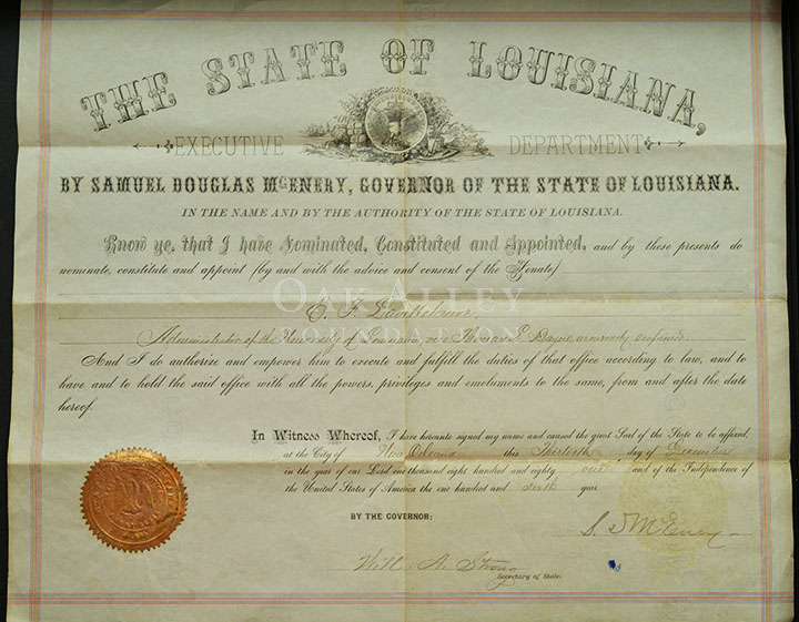 Certificate of Appointment- Administer to the University of Louisiana | Oak Alley Foundation
