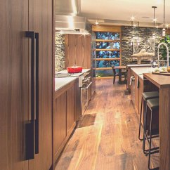 New Kitchen Appliances Gold Faucets Stunning Contemporary Home With Wide Plank Black Walnut Floor
