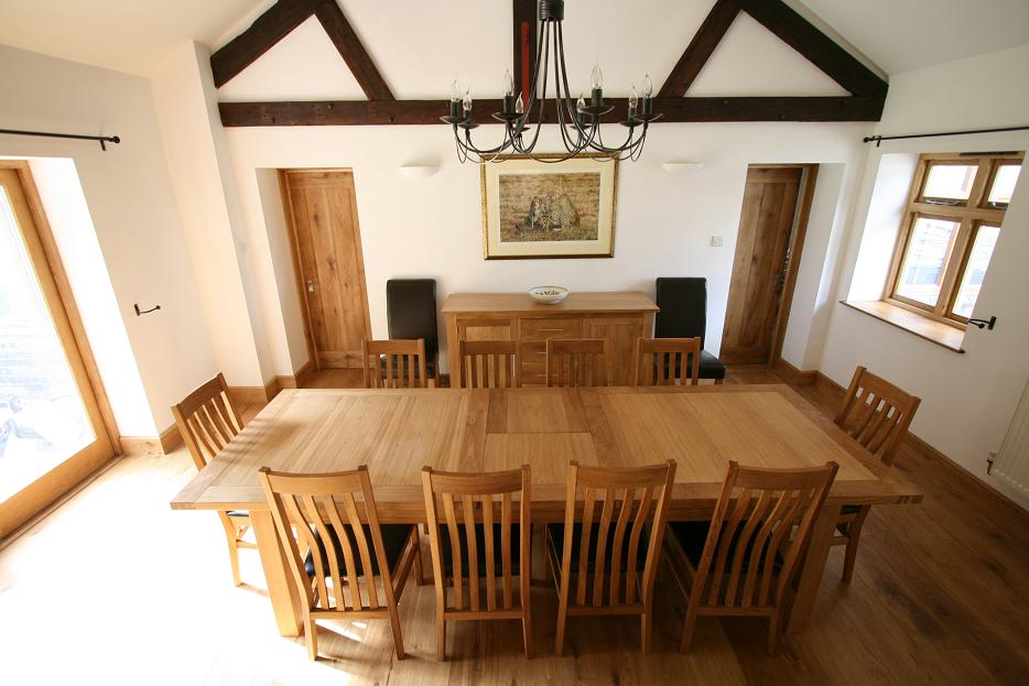 oak kitchen table sets john boos cart large dining seats 10 12 14 16 people huge big tables the 2 4 9m tallinn butterfly extending european shown with stunning winchester leather chairs dark brown pads priced at 1629
