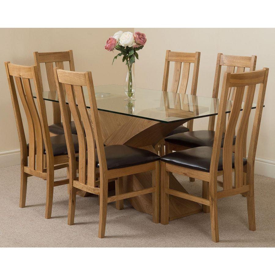Valencia Oak Small Glass Dining Table 6 Princeton Oak Chairs