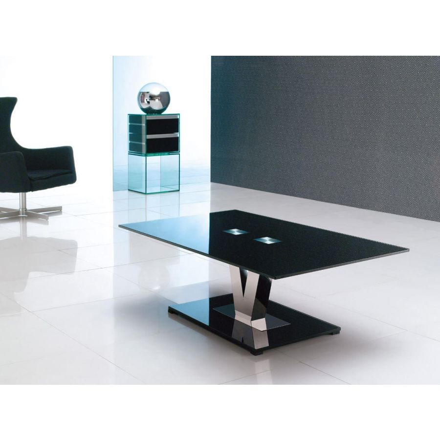 vidal designer coffee glass table black glass and polished steel