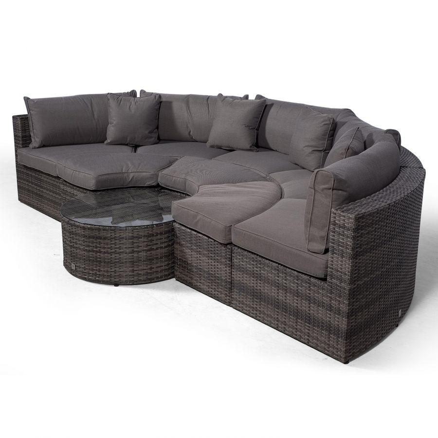 monaco semi circle rattan garden sofa set with ottomans grey
