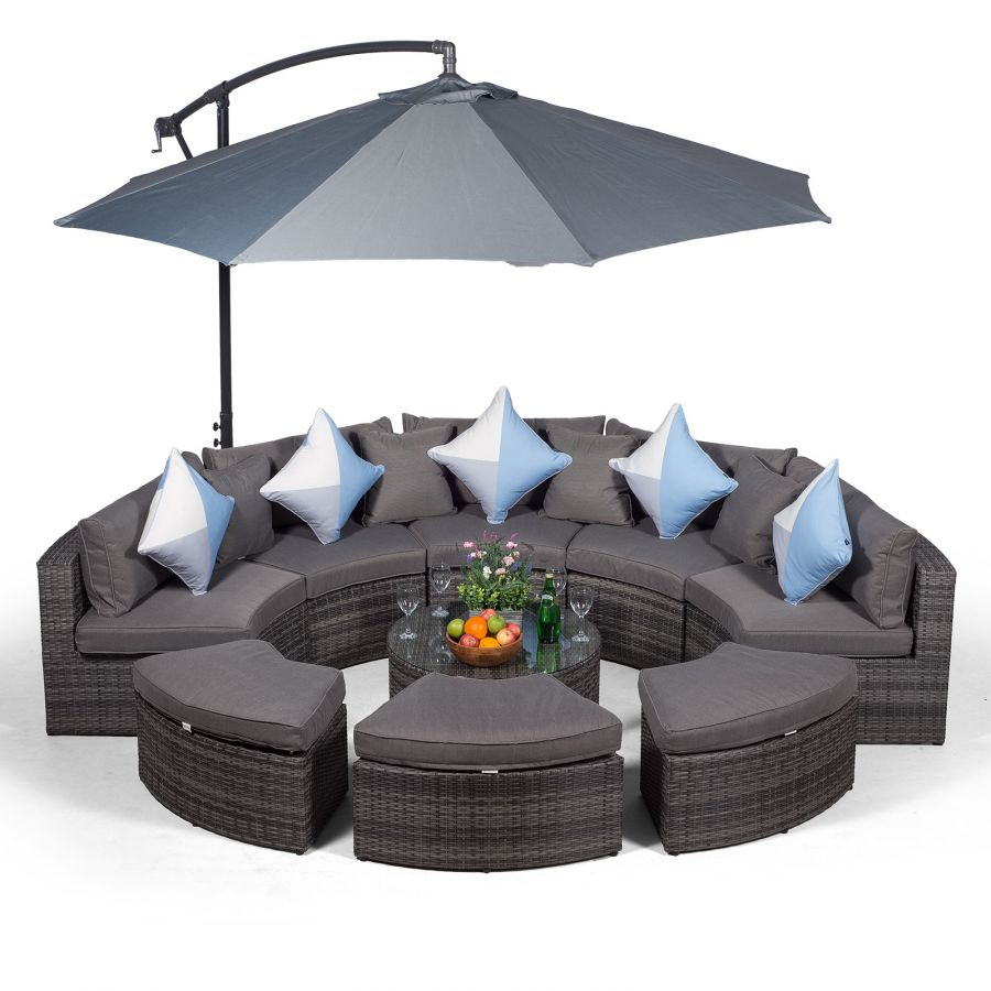 monaco semi circle rattan garden sofa set with ottomans grey