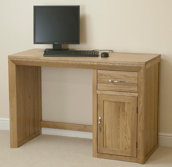 Bevel Natural Solid Oak Computer Desk  Home Office Furniture