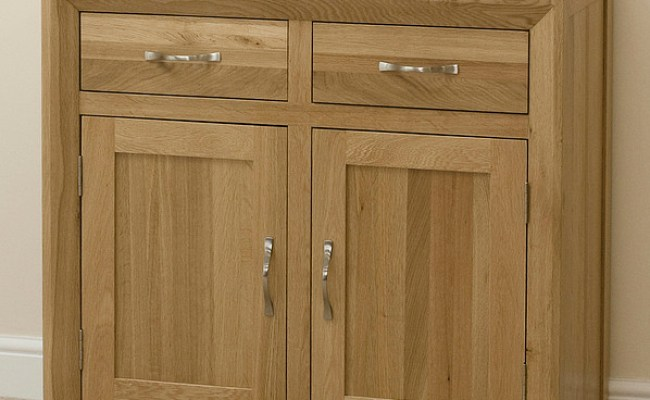 Bevel Natural Solid Oak Small Sideboard Oak Furniture Land