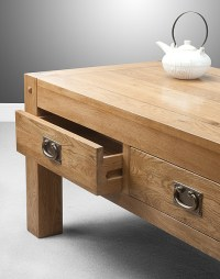 Quercus Rustic Solid Oak 4 Drawer Storage Coffee Table ...