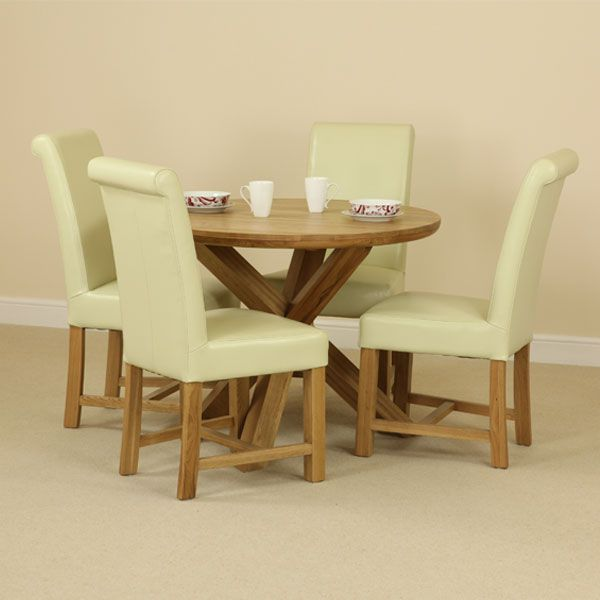 Admirable Solid Oak Round Dining Table With Crossed Legs 4 Braced Gamerscity Chair Design For Home Gamerscityorg