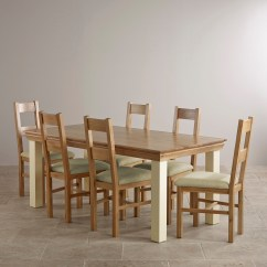 Oak Farmhouse Chairs French Cane Country Cottage Natural And Painted Dining Set 6ft