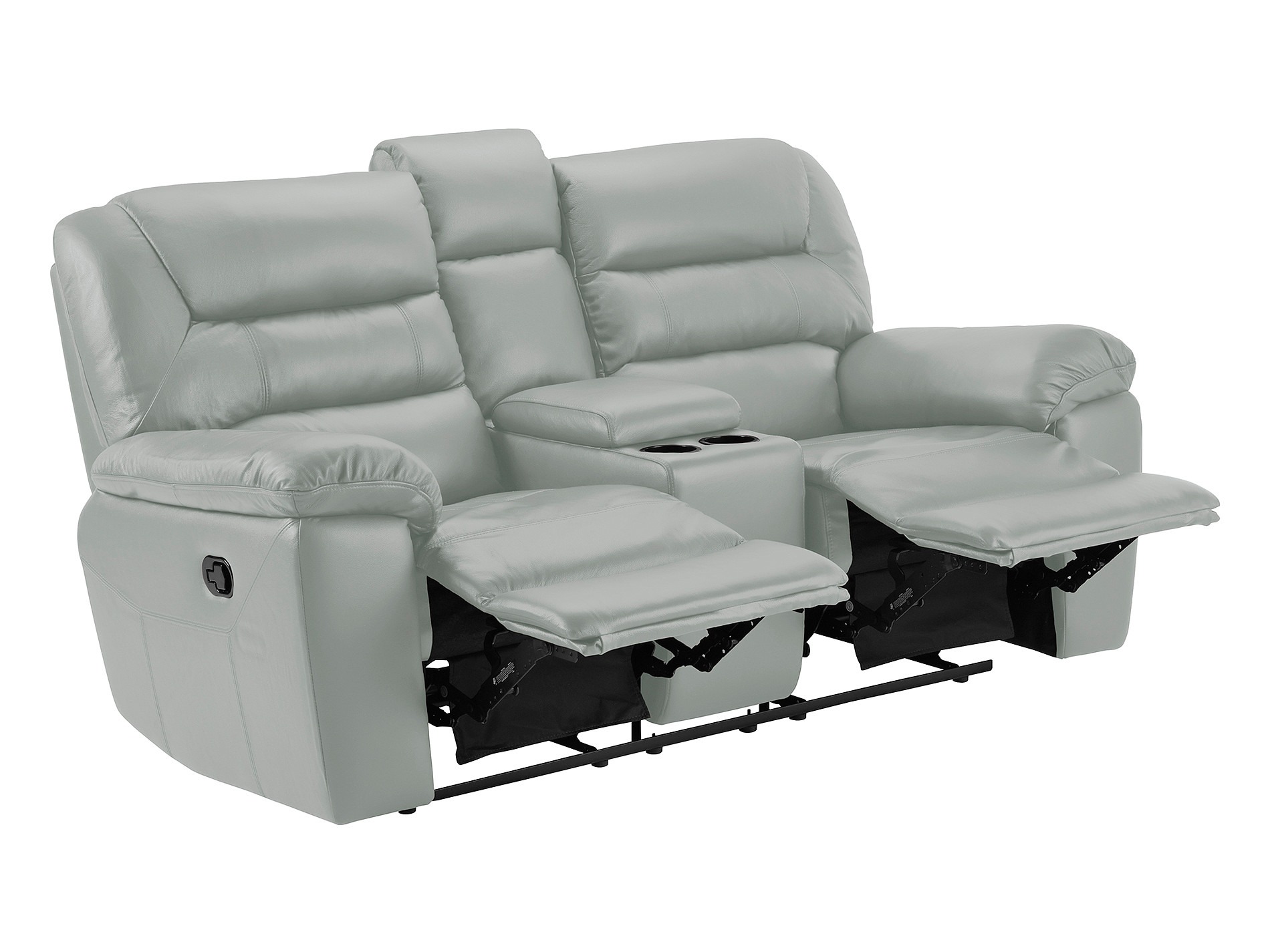 grey leather recliner chair uk high covers devon small sofa with manual recliners dark faux