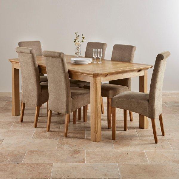 Edinburgh Natural Solid Oak Dining Set - 6ft Extending