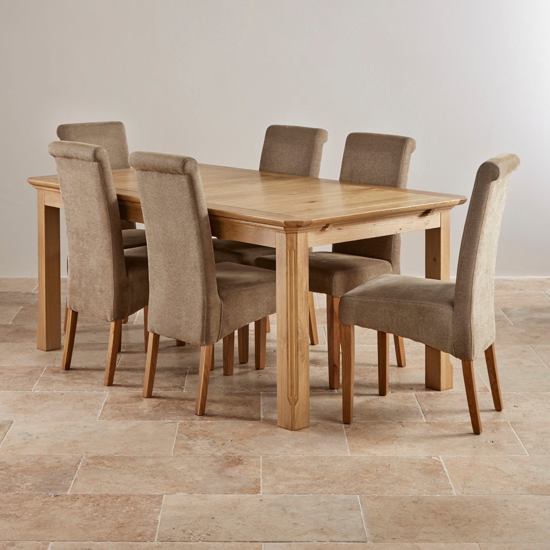 oak dining set 6 chairs baby sofa chair edinburgh natural solid 6ft extending
