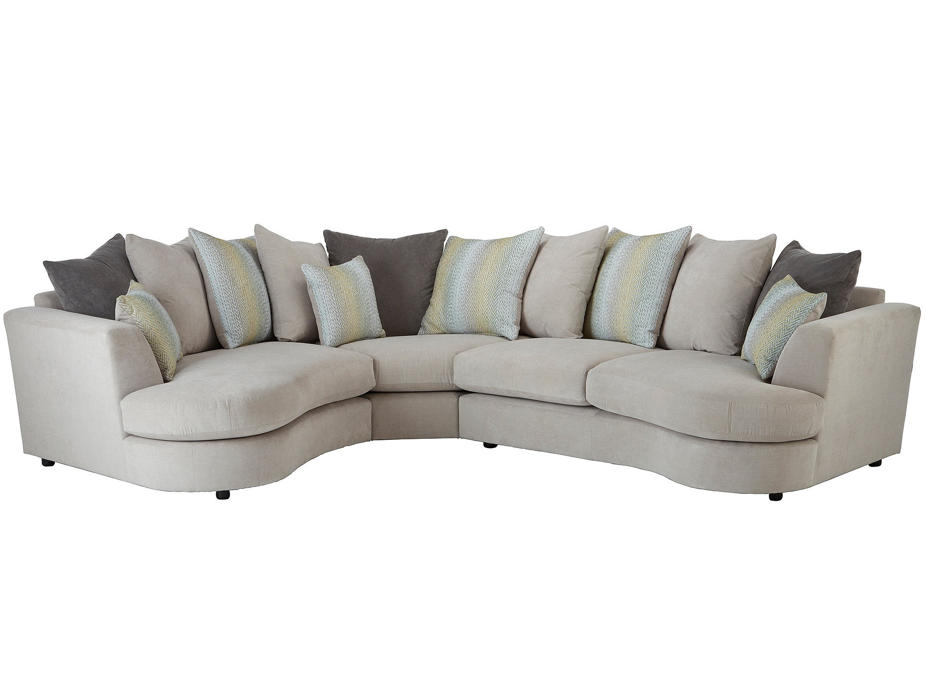 curved sofa set india eames sofabord brugt murray corner left facing in graceland silver