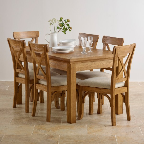Extendable Dining Set In Rustic Brushed Solid Oak
