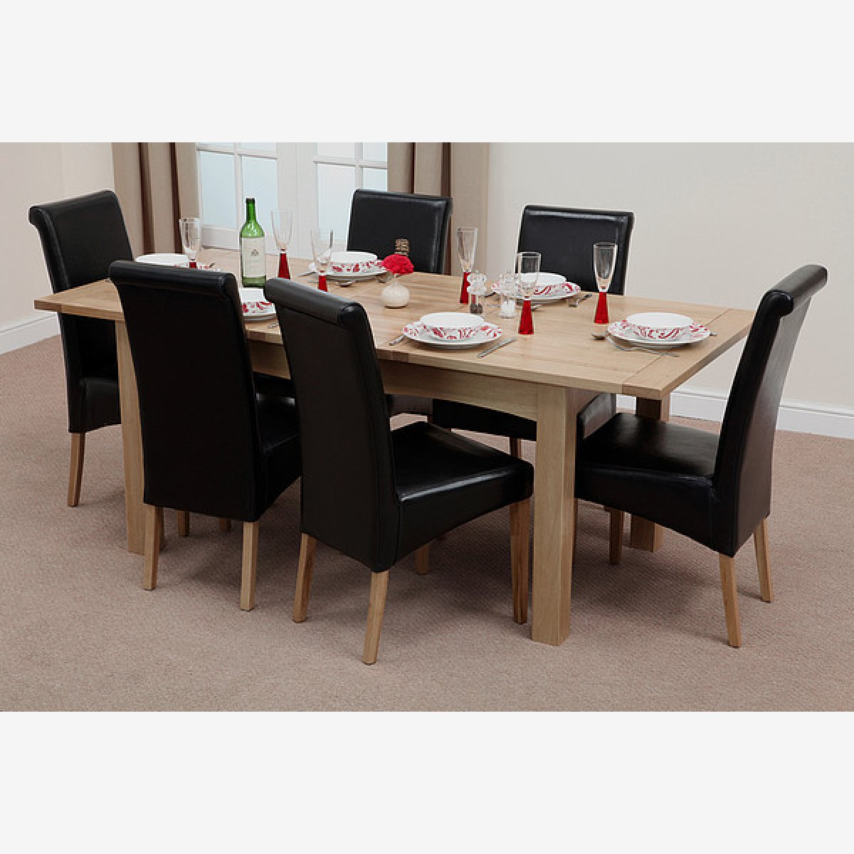 solid oak dining table and chairs stool chair for sale philippines cairo extending in 436 black leather