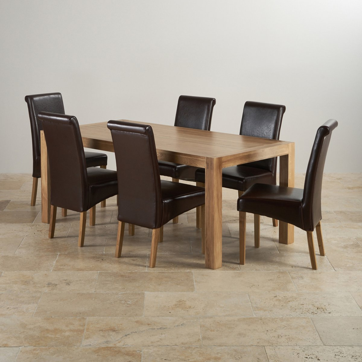 oak dining set 6 chairs white high back office chair alto in table 43 brown leather