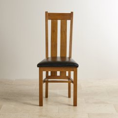 Rustic Leather Chair Folding Leg Protectors Arched Back Dining In Solid Oak Black