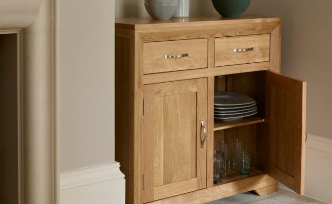 Bevel Small Sideboard In Natural Solid Oak Oak Furniture