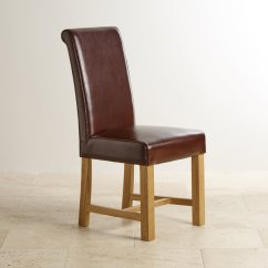 Dining Chair Leather Rolling Garage Brown With Braced Oak Legs Room