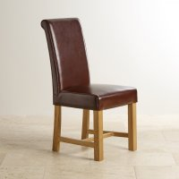 Brown Leather Dining Chair with Braced Oak Legs | Dining Room