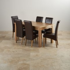 Dining Table Set 6 Chairs Beach Chair And Umbrella Cairo Extending In Oak 43 Leather