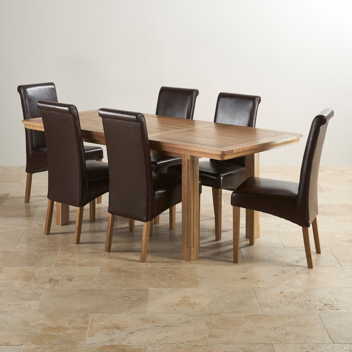 dining table with leather chairs hanging chair glass canterbury extending 43 6