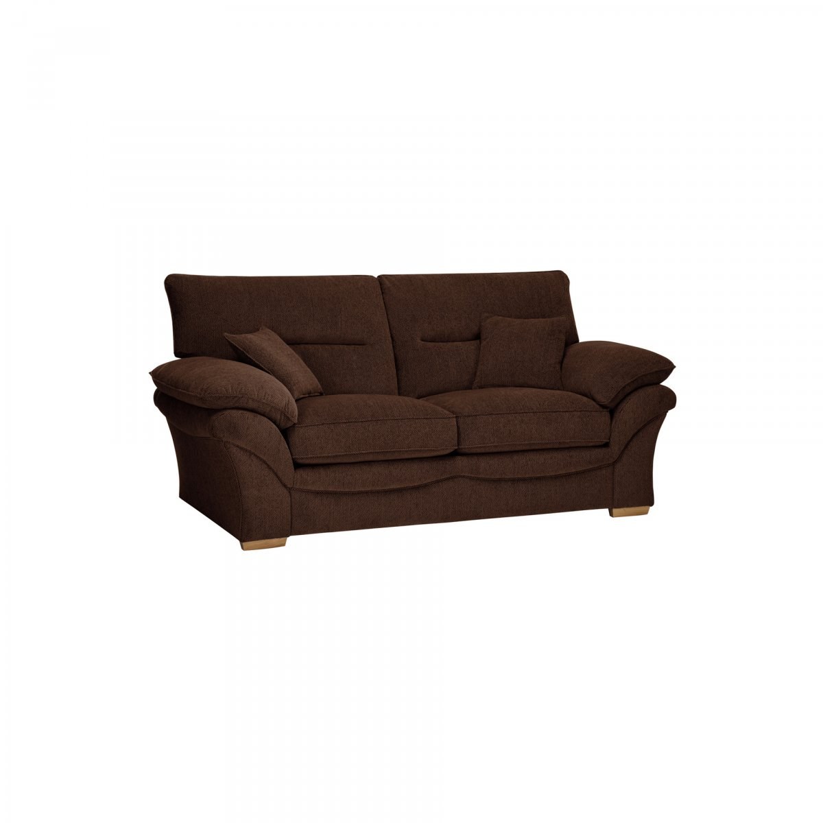 standard sofa cushion size bianca futon bed chloe 2 seater in brown fabric