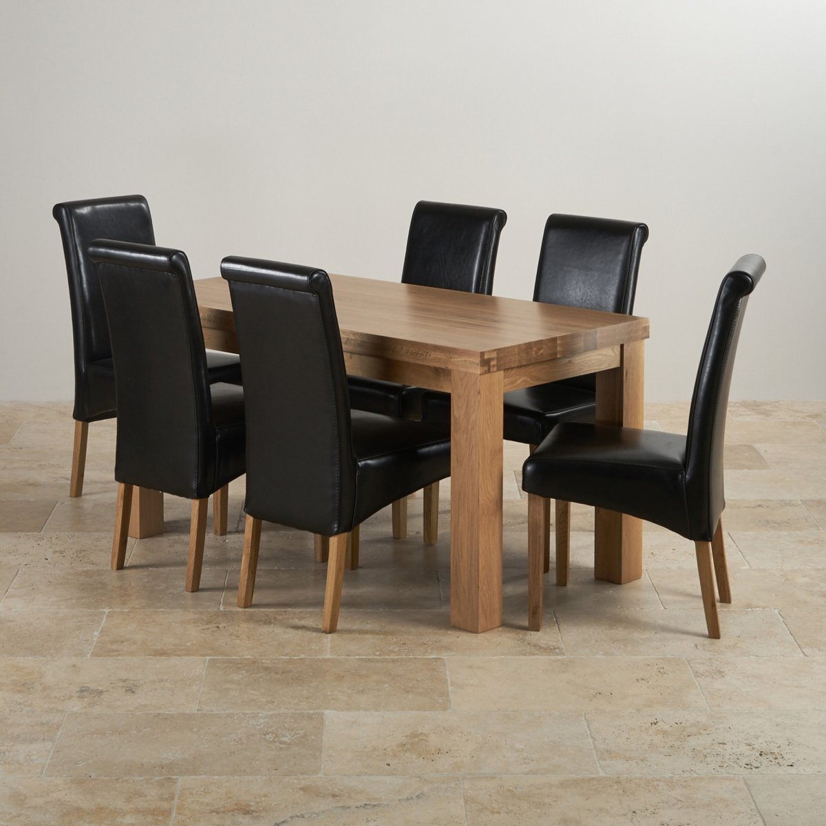 black dining sets with 6 chairs revolving armchair oak modern chunky 5ft table and