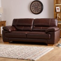 Clayton 3 Seater Sofa in Brown Leather   Oak Furniture Land